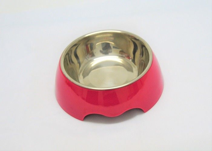 Middle Size Red color Plastic Pet Bowls Food Grade ABS With Anti Skidding